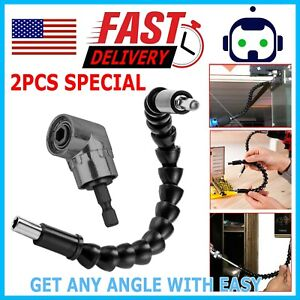 Right Angle Drill Adapter Flexible Shaft Extension Bits amp; Screwdriver Hold 1 4quot; $6.49