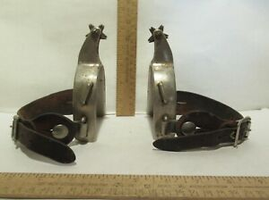NORTH and JUDD Rodeo Cowboy SPURS With Leathers used ANCHOR marking 2