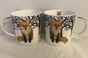 2 Winter Fox Coffee Mugs 13.5oz Tea Cup Gift Two Can Art PPD Woodland Creatures $26.99