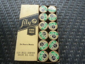 Vintage NOS Lily Sewing Thread 12 X 60 Yards ea All Original Lily Mill Co. Box $12.00