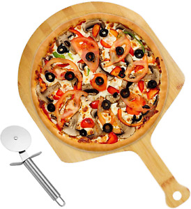 Bamboo Pizza Peel With Cutter 18 x 12 Premium Pizza Paddle And Cutting Board