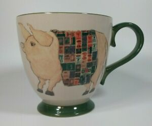 CATCH THE HOG Funny Pig Covered With Stamps Large Kathleen Taylor Coffee Mug Cup