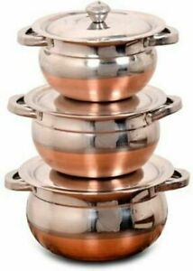 Indian Stainless Steel Kadhai Bowl Handi Set with Handle and Lid set of 3 $27.99