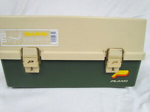 VTG Plano 1730 Tackle Box 3 Tray Fishing Storage Beige Green Nice Clean