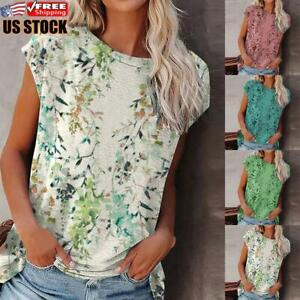 Women#x27;s Floral Round Neck Loose T Shirt Ladies Summer Holiday Casual Tops Blouse