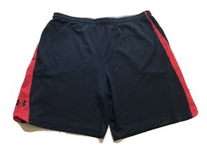 Under Armour shorts men's SZ 2XL Black red W pockets Athletic Fitness $15.99