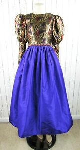 Vintage 70s 80s Purple Gold Metallic Lurex Ball Gown Hostess Party Prom Formal