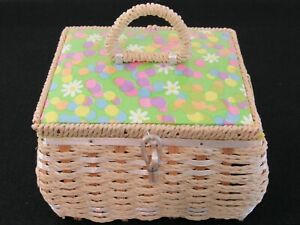 Vintage Dritz Sewing Basket Box 1960s Wicker Japan Bright Floral and Dot $28.00