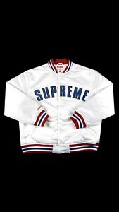 Louis Vuitton supreme jacket white large Mitchell and Ness Varsity Bomber