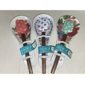 Pioneer Woman Mini Spoon Rest and Spatula Set LOT OF 3