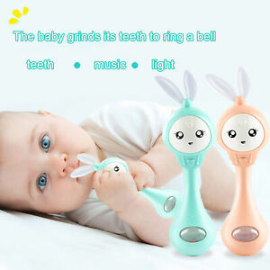Cartoon Rabbit Baby Shaking Rattle Hand Bell with Music Light Teether Toy Mystic