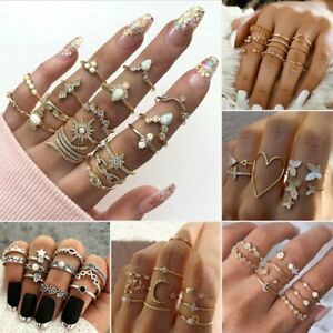 2021 Fashion Women Boho Retro Silver Gold Finger Knuckle Rings Set Jewelry Gift GBP 2.69