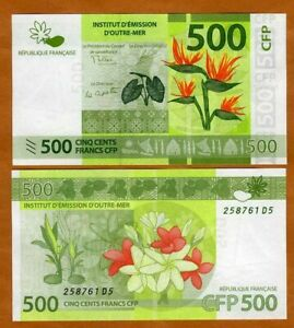 French Pacific Territories 500 Francs ND 2014 P 5 New. Sig. UNC gt; Flowers $11.97