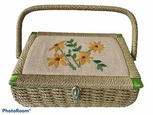 VTG Plastic Wicker Sewing Basket Embroidered Lid Green Silk Lining Japan Made $27.99