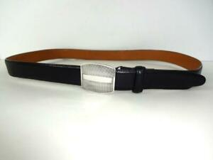 RALPH LAUREN COLLECTION STERLING BUCKLE BLACK LEATHER BELT S 30 32 FREE SHIP $99.99