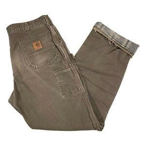 Vintage Carhartt Distressed Flannel Lined Brown Carpenter Pants USA Made 38x36 $29.99