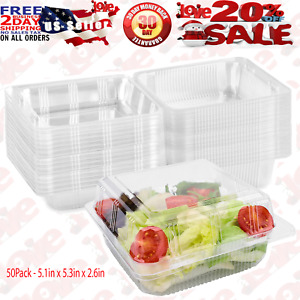 50Pack Clear Plastic Square Hinged Food Containers Disposable Food Containers $23.95