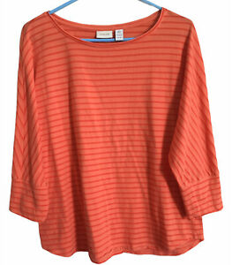 Chicos Size 2 Orange Striped 3 4 Sleeve Top Tunic Blouse Shirt Stretchy $15.99