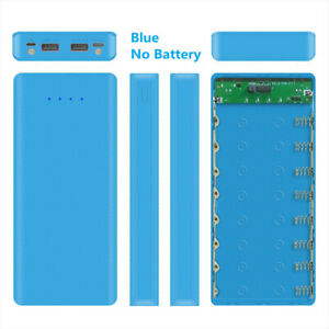Blue 8 x18650 Battery Case Power Bank Shell Charger Box Accessories DIY Case