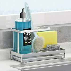 Kitchen Countertop Dish Soap Holder Sponge Holder with Drain Pan Stainless Steel