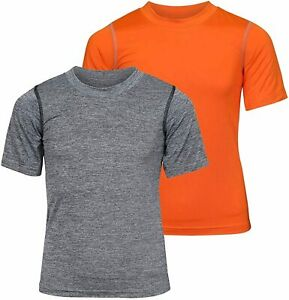 Boys Performance Dry Fit T Shirts Grey and Grey Size Large h3Eo $13.99