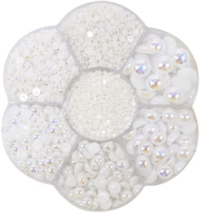 Approx 5600pcs Mixed Size DIY Half Pearl Bead Flat Back Plastic Craft white new $16.31