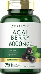Acai Berry Capsules 6000mg 250 count Non GMO Gluten Free by Carlyle $15.94