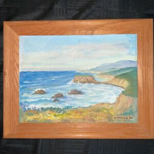 VINTAGE CA seascape original hand painted oil PAINTING coast line by Stover $219.00