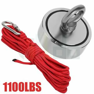 1100 LBS Double Side Strong Fishing Magnet with Rope Neodymium Treasure Hunt $19.99