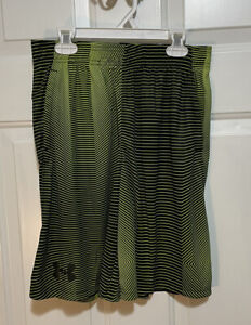 NWT Under Armour Shorts Boys size Youth XL Black And Lime Green Drawstring Waste $12.90