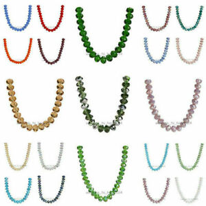 6x4mm Faceted Glass Crystal Jewelry DIY Findings Rondelle Loose Beads 111Colors C $1.69