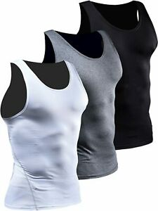 Mens Athletic 3 Pack Compression Tank Top Dry Fit Black Size Small 3Koe $13.99