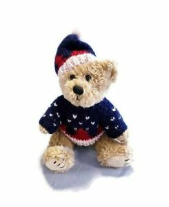 Vintage 1998 Hugfun Jointed Teddy Bear Winter Christmas 10quot; Costco Plush Toy