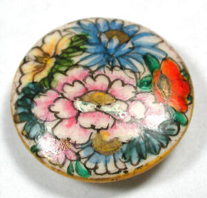 Antique Vintage Satsuma Button Hand Painted Flowers with Gold Accents 15 16