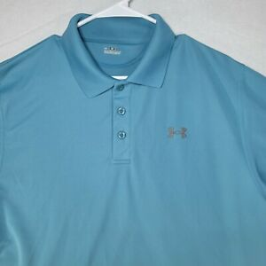 UNDER ARMOUR Polo Shirt Mens Blue Short Sleeve Size L Golf Casual $18.99