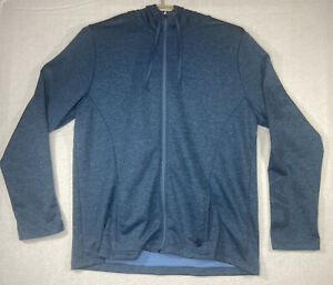 Under Armour Hoodie Mens 2XL Heathered Blue Full Zip Cold Gear Pockets $23.99