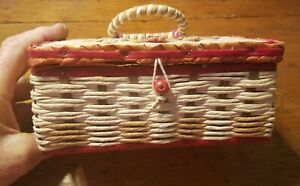Vtg. Dritz Sewing Basket With Lined Interior 7 1 4quot; x 4 3 4quot; x 3 1 4quot; Japan cf $12.50