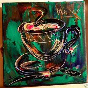 COFFEE LARGE ART expressionist Abstract Modern Original Oil Painting GREEFR5 $149.00