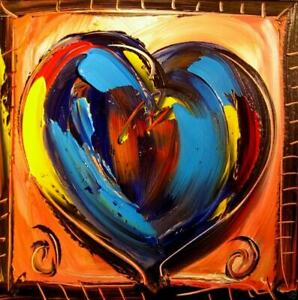 HEART LARGE ART expressionist Abstract Modern Original Oil Painting RTHERG $149.00