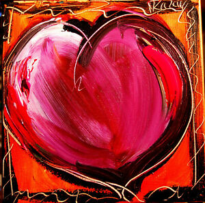 HEART LARGE ART expressionist Abstract Modern Original Oil Painting RETB $149.00