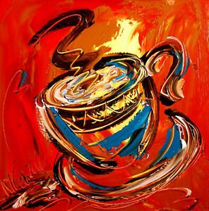 COFFEE LARGE ART expressionist Abstract Modern Original Oil Painting REHRTRH $149.00