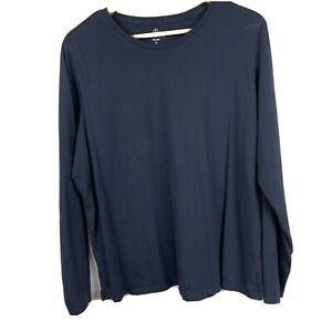 Lands End Womens XL Relaxed Fit Cotton Long Sleeve Tee T Shirt Top Solid Blue