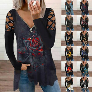 Plus Size Womens V Neck Floral Tops T Shirt Ladies Long Sleeve Casual Blouse Tee