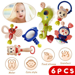 6 Pcs Baby Rattle Early Educational Toys Set Newborn Baby Gifts For 0 12 Months