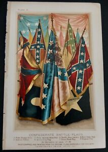 Lithograph Of South Civil War Flags Published In 1800#x27;s By A. D. Worthington $40.00