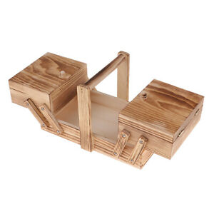 Vintage wooden sewing box sewing box sewing accessories with handle $22.46