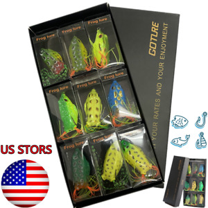 Goture 9PC Bait Frog Soft Lures Topwater Bass Fishing Crankbaits For Big Fish US