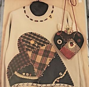 """HEART WARMERS Wool Sewing Pattern Heart amp; Pillow Purse Wall Hanging 15"""" Applique $3.49"""
