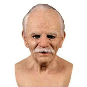 Cosplay Bald Old Man Halloween Party Realistic Props Creepy Wrinkle Face Mask US $20.96