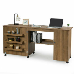 Folding Sewing Table Shelves Storage Cabinet Craft Cart W Wheels Large Natural $187.49